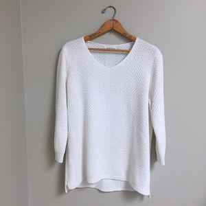 White Northern Reflections 3/4 Sleeve Sweater